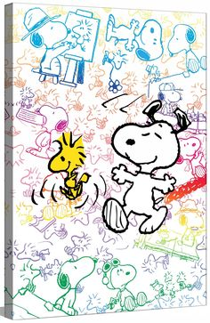 "Peanuts ""Colorful Snoopy"" by Charles M. Shultz Graphic Art on Canvas. Follow me & The Gang :) https://www.pinterest.com/plzmrwizard67/"