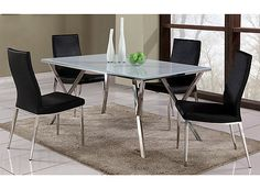 Dine in style with the Jamila 5-piece dining set. The table features a super white clear glass top, while the each chair has a high-backed design upholstered in elegant black for a modern dining room look.