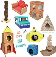 Looking for a great gift book for cat lovers or want to treat your own fancy feline to a new abode? Grab a copy of DIY Cat Castles: 20 Cardboard Habitats You Can Build Yourself and learn how to build homemade habitats with easy instructions and common mat Cardboard Train, Cardboard Cat House, Diy Cardboard, Cardboard Rocket, Cardboard Castle, Diy Jouet Pour Chat, Cat Habitat, Diy Karton, Carton Diy