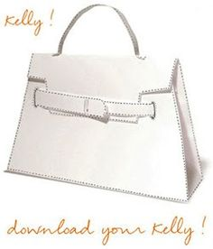 Hermes Kelly Bag / Origami Paper Craft / Free Download: Make it out of 2 sheets of card stock and customize to make it your own!