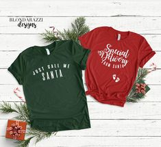 "Christmas Pregnancy Announcement shirt set for mom and dad! ""Just call me santa"" for daddy and ""Special delivery from santa"" with baby feet for mommy. Quick turnaround from Blondarazzi Designs! Thanksgiving Pregnancy Announcement, Halloween Pregnancy Announcement, Christmas Baby Announcement, Christmas Couple, Christmas Shirts, Shirt Mockup, Matching Shirts, Pregnancy Shirts, Baby Halloween"