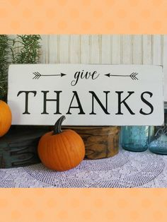 Give Thanks    A wonderful reminder for the Thanksgiving holiday but would be great to display all year long. #thanksgiving #fall #falldecor #autumn #ad