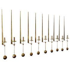 "Pierre Forsell Set of Ten ""Pendulum"" Wall Mounted Brass Candlesticks   From a…"