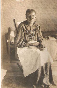 Vtg Antique African American Real Photo Postcard Black Lady Home Spun Dress Bed