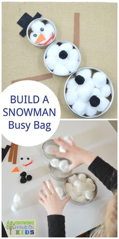 Build a snowman busy bag for preschoolers, perfect winter quiet activity.  via /growhandsonkids/