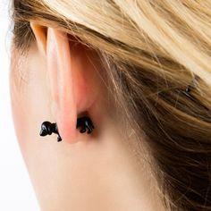 {Dachshund Earrings Black}
