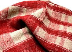 "Vintage Red Plaid Heavy Wool Camp Blanket - Rustic Cabin Decor - 75.5"" x 62""…"
