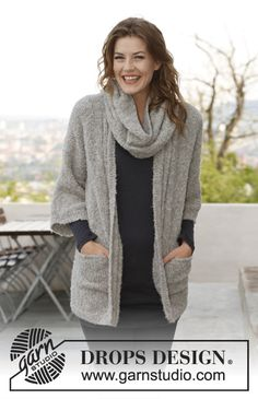 Free Pattern Ravelry: Odille - Jacket and neck warmer in Alpaca Bouclé pattern by DROPS design Knitting Stitches, Knitting Patterns Free, Knit Patterns, Free Knitting, Dress Patterns, Free Pattern, Drops Design, Knitted Coat, Knit Or Crochet