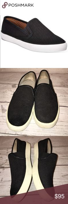 Vince Size 6.5 Black Canvas Slip-on Sneakers In excellent used condition. Black. Leather trim. No trades. Vince Shoes Sneakers