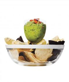 Scoop guacamole or salsa into a wineglass, then stand it in the center of a bowl of chips for an impromptu chip-and-dip platter.