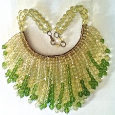 Vintage Coppola e Toppo Rare Bib or Collar, Perigot Green & Pale Yellow Faceted Beads 1950s on Etsy, $1,900.00
