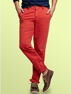 "GAP denim-washed garment dye khakis. @Natalie Seeber: ""I just want a pair of blood orange denim pants."" Me too."