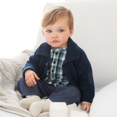 Buy Baby > Baby Boys Clothing > Grandad Cardigan - Navy from The White Company