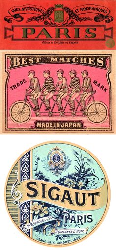 vintage luggage tags, matchbooks and labels.