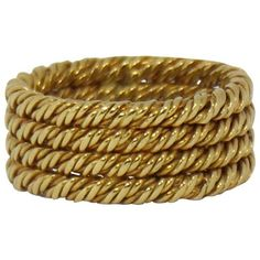 Pre-owned Tiffany Four Row Twisted Rope 18K Yellow Gold Ring (4.870 BRL) ❤ liked on Polyvore featuring jewelry, rings, gold twist ring, preowned wedding rings, 18k yellow gold ring, gold jewellery and wedding rings