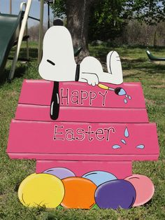 HP Happy Easter Snoopy on House Yard/Lawn Art Handpainted