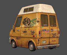 Ford Econoline by Mike Ho on ArtStation. Ford Transit Camper, Post Apocalyptic Art, Car Design Sketch, Illustration Art, Illustrations, Jurassic Park World, Prop Design, Dope Art, Car Humor