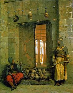 Heads of the Rebel Beys at the Mosque of El Hasanein, Cairo, - Jean-Léon Gérôme, 1866