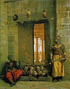 """""""Cabeças dos Rebeldes Beys na Mesquita de El Hasanein no Cairo"""". (1866). (by Jean-Léon Gérôme)."""
