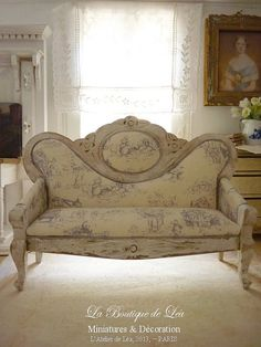 Sofa Napoléon III - Blue French toile - Toile de Jouy - Furniture for a French dollhouse in 1:12th scale