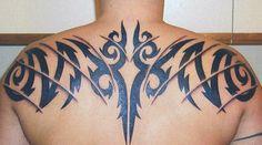 Black Tribal Upper Back Tattoo ~ Tribal Tattoo Ideas #15