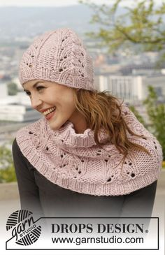 "Abbraccio Rosa - Set consists of: Knitted DROPS hat and neck warmer with lace pattern in ""Eskimo"". - Free pattern by DROPS Design Lace Knitting, Knitting Patterns Free, Knit Patterns, Knit Crochet, Crochet Hats, Free Pattern, Drops Design, Drops Patterns, Knitting Accessories"