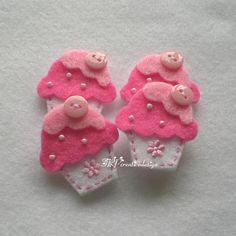 DOUBLE LAYERS Cupcake Felt Applique With by TRPcreativedesign01, $4.50