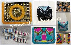 Crafts Of Gujarat is a Crafts Store in Ahmedabad offering Indian Handmade Handicraft Products, Vintage kantha Collection, intage Tribal Indian Costume jewelry. Kutch Work, Fringe Fashion, Hand Work Embroidery, Designer Clutch, Boho Bags, Mirror Work, Purse Styles, Clutch Purse, Handmade Crafts