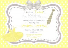 Kara's Party Ideas Ties or Tutus Gender Reveal Shower Party Planning Decorations Ideas Tutu Invitations, Gender Reveal Invitations, Baby Shower Invitations, Invitation Wording, Invitation Ideas, Invite, Shower Party, Baby Shower Parties, Baby Showers