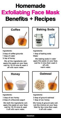 Homemade Exfoliating Face Mask: Benefits + Recipes Homemade exfoliating face mask provide an efficie Coffee Mask, Coffee Scrub, Baking Soda Ingredients, 3 Ingredients, Diy Beauté, Luscious Hair, Home Remedies For Hair, Exfoliate Face, Skin Care