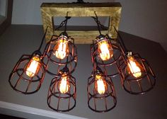 Edison Bulb Cage Chandelier - Lighting - Cage Fixture- Edison Bulb Chandelier-Reclaimed Wood- Upcycled Wood