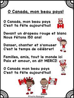 Fete du Canada (GRATUIT) Comptine pour la 150e fete du Canada! O Canada, French Poems, Core French, French Resources, French Immersion, Word Work, Literacy Centers, First Grade, School Ideas