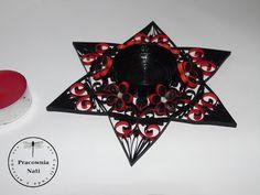 Pracownia nati czyli cuda z niczego: Czarno- czerwony świecznik w nieco mrocznym stylu