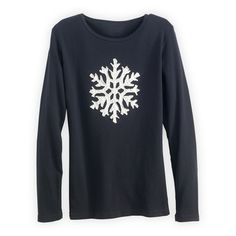 Wm Long-sleeve Snowflake Applique Made in USA Organic Tee in Holiday 2012 from Fair Indigo on shop.CatalogSpree.com, my personal digital mall.