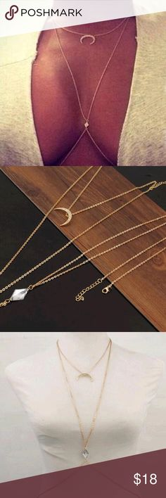 Crystal Crescent Moon Body Chain  Crystal Crescent Moon Body Chain  bundle with other items for additional discounts! Jewelry