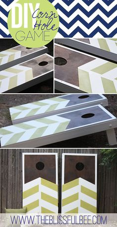 Herringbone Cornhole using stain and paint.