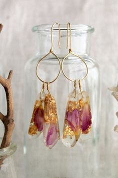 Purple Dangle Eco Friendly Resin Jewelry Earrings with Pressed Flowers, Gold Leaf and Hand Made Hooks, Hoops  by Anne Loarie on Etsy $89.00