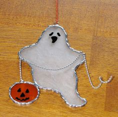 Stained Glass Suncatcher - Halloween Spooky Ghost with Pumpkin on a Wire Chain