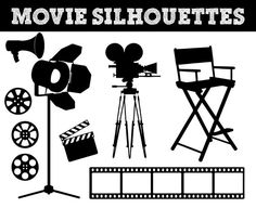 Movie Film Silhouettes // Camera Silhouette // Video Clipart // Hollywood Silhouettes // Commercial & Personal Use