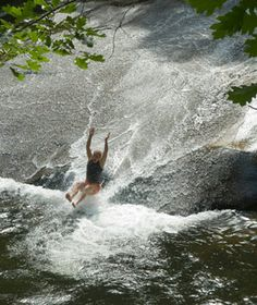 Sliding rock, Pisgah Forest near Brevard and Ashville North Carolina. The water was so cold, it took my breath away the first time I slid into the pool of water. Once I was breathing again, I did it over and over again (breathing ok). And, it was soooo much FUN!