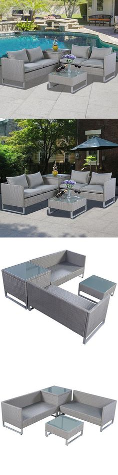 farm and garden: 4Pcs Gray Rattan Wicker Patio Sofa Cushion Seat Set Furniture Lawn Outdoor -> BUY IT NOW ONLY: $529.99 on eBay!