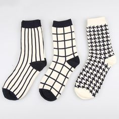 New Cotton women black white socks Autumn winter girls lady sox Fashion classic Plaid high tube meias female brand crew sock #Affiliate