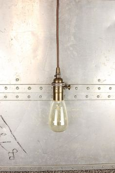 Industrial Pendant Light Antique Brass Bare Bulb Socket Edison Bulb Plug In or Canopy Rayon Cloth Covered Black Brown Wire Zig Zag White by IlluminateVintage on Etsy