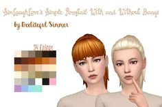 Deelitefulsimmer: Simple ponytail with and without bangs hair  - Sims 4 Hairs - http://sims4hairs.com/deelitefulsimmer-simple-ponytail-with-and-without-bangs-hair/