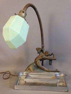 Antique ART DECO Era NUDE LADY Figural DANCER Old GOOSE NECK Pen Rest DESK LAMP
