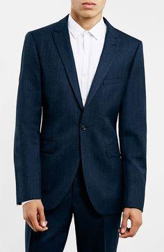 Topman Navy Textured Wool Blend Slim Fit Suit Jacket