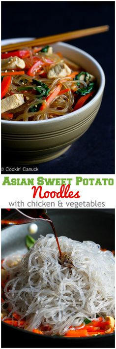 Asian Sweet Potato Noodles Recipe with Chicken and Vegetables...195 calories and 5 Weight Watchers PP   cookincanuck.com #healthy #cleaneating