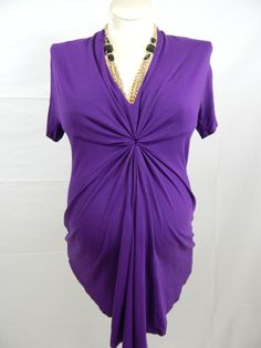 Purple Short Sleeve Cinched Top-912