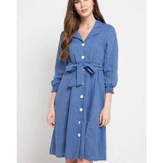 AMARY - Midi Dress dengan motif stripes dilengkapi tali ikat • - Warna Dress Formal, Ikat, Stripes, Shirt Dress, Shirts, Fashion, Moda, Shirtdress, Fashion Styles