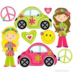 $5 Hippie Chick Clipart Set is bright and fun and contains 9 retro groovy graphics including: 2 Love Bug Volkswagen Beetle Cars, 2 Hippie Chick Girls, 2 Peace Signs, 2 Retro hearts and a Smiley Face. This is a great clip art set for summer! Use it to make printable gift tags, buffet cards, crafts with the kids, digital cards and more.{ DETAILS } Graphics are created in vector image software and are saved at High Quality 300 dpi Resolution.